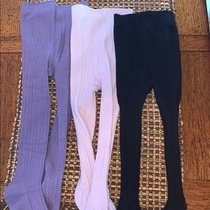 3 pairs cable knit tights